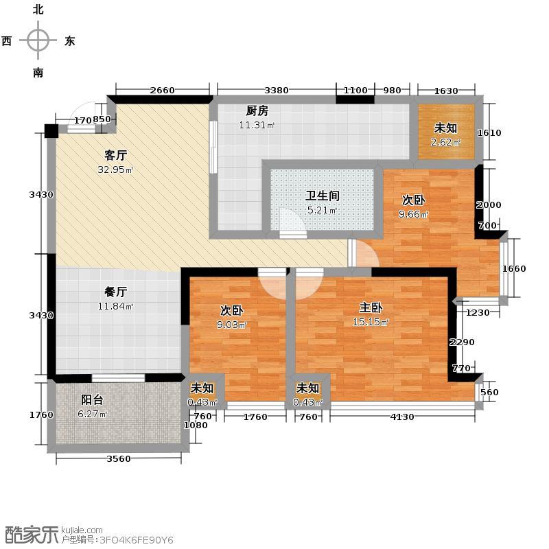 嘉里桦枫居118.00㎡舒华系列F户型3室2厅2卫