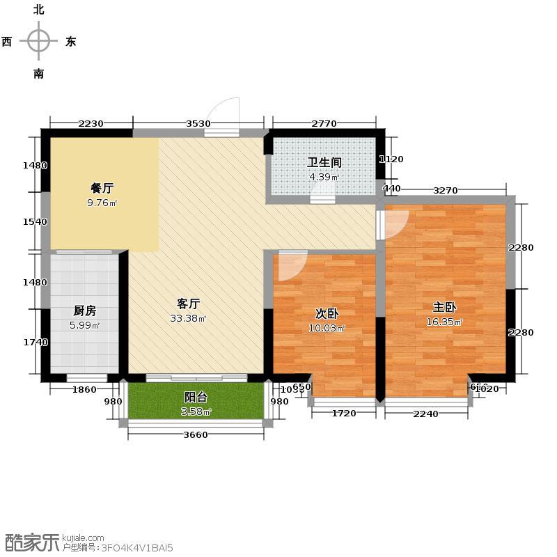 凤凰城103.42㎡户型2室1厅1卫1厨