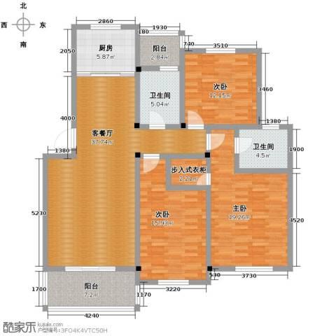 多蓝水岸3室1厅2卫1厨134.00㎡户型图