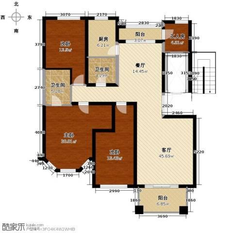 绿城桂花城3室1厅2卫1厨156.00㎡户型图