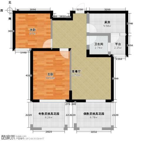 保利东湾排屋2室1厅1卫1厨101.00㎡户型图