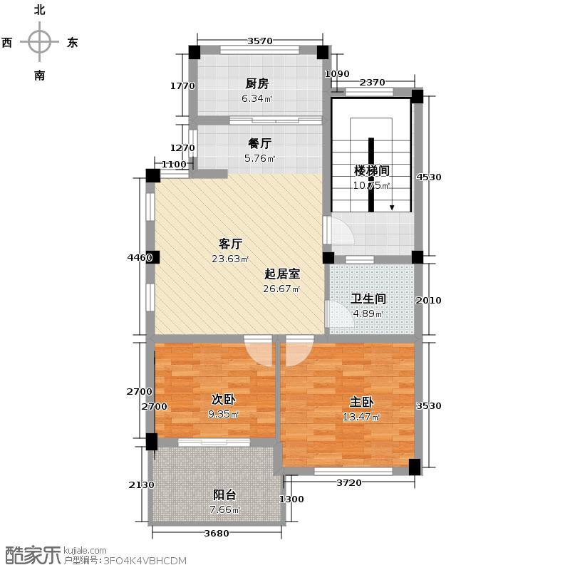 东方文化园奇景家苑85.00㎡C2户型2室1卫1厨