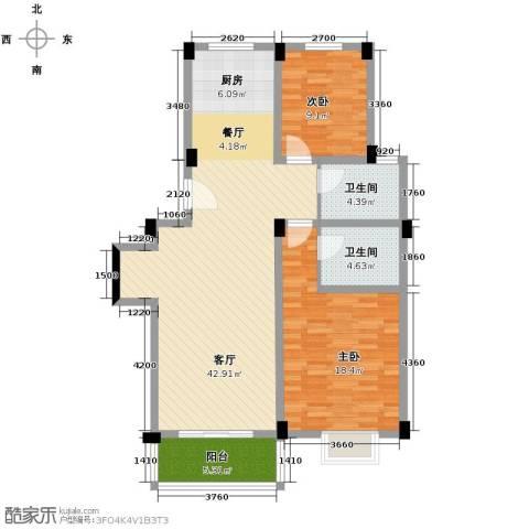 多蓝水岸2室1厅2卫0厨110.00㎡户型图