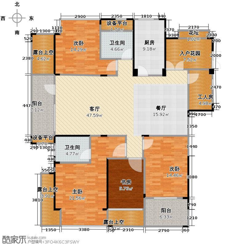 野风启城163.00㎡湾景城市公寓4号楼西边套偶数层户型5室2厅2卫