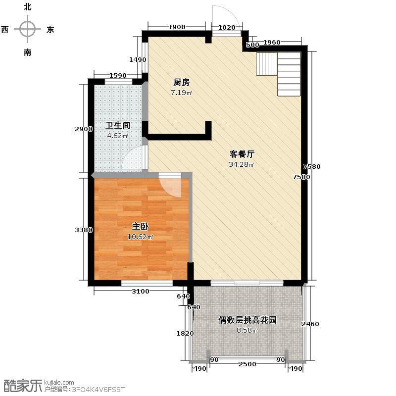 保利东湾64.19㎡四期9号楼C户型1室1厅1卫