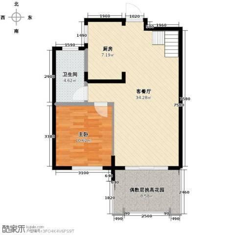 保利东湾1室1厅1卫0厨80.00㎡户型图
