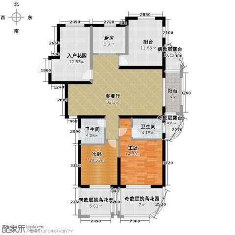 保利东湾排屋2室1厅2卫1厨168.00㎡户型图