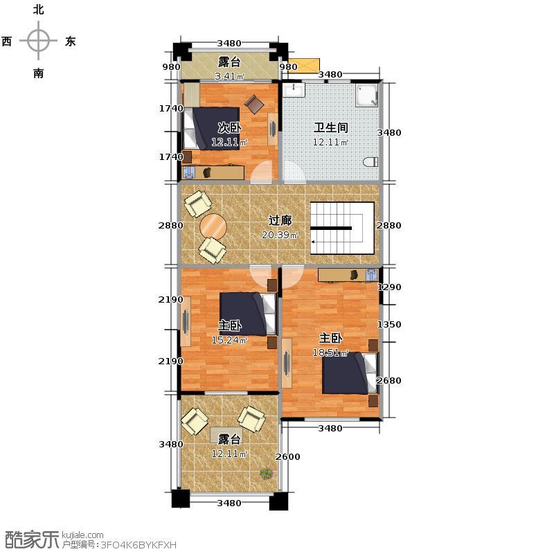 百家乐西园100.22㎡I二层户型10室