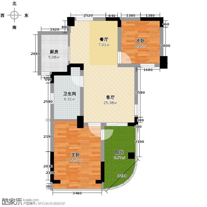翡翠城88.00㎡竹苑7#B-(已售完)户型2室1厅1卫1厨