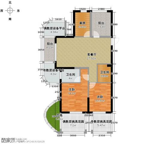 保利东湾排屋2室1厅2卫1厨151.00㎡户型图