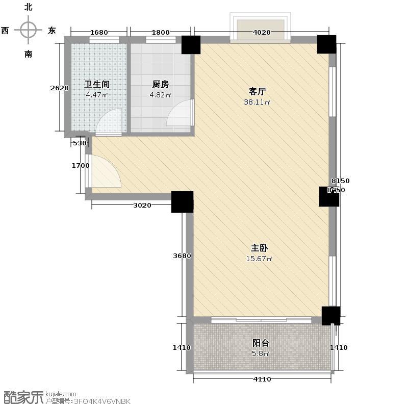 锦绣山水苑61.87㎡户型1厅1卫1厨