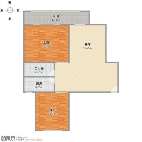 金地湾流域2室1厅1卫1厨156.00㎡户型图
