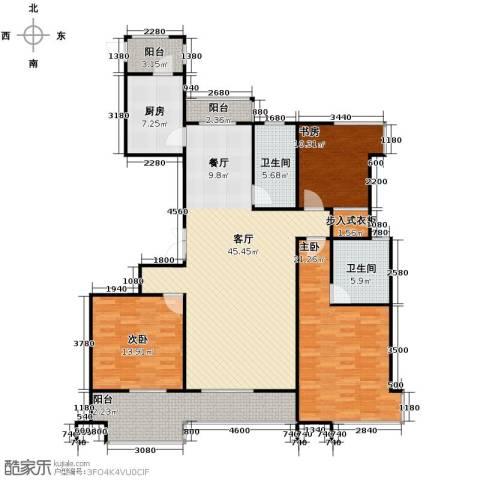 金成江南春城庭院深深3室1厅2卫1厨160.00㎡户型图