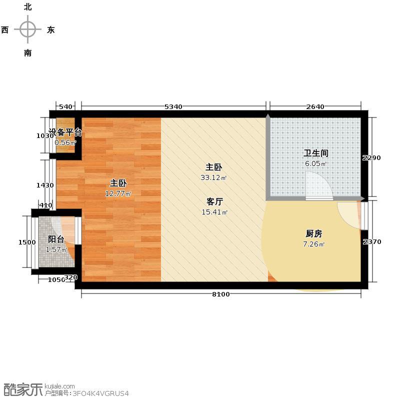 东海水景城48.49㎡蓝钻1号D1户型1室1卫
