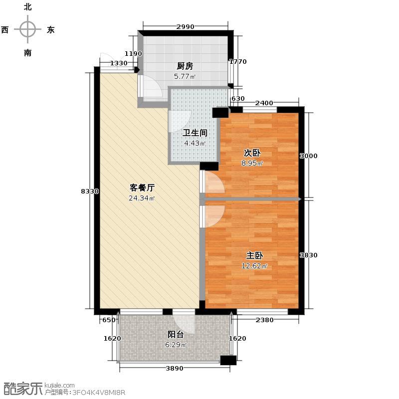金成江南春城庭院深深77.00㎡四期E户型2室1厅1卫1厨
