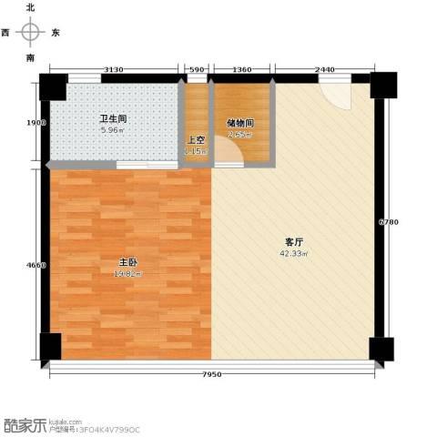 潮人汇大厦1厅1卫0厨91.00㎡户型图