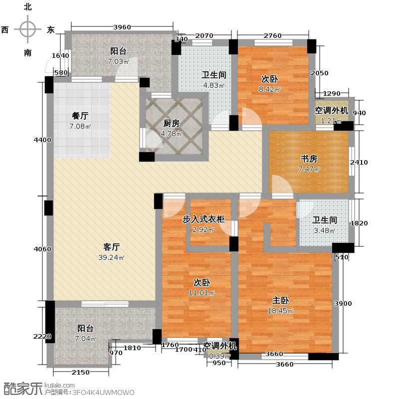北湖绿洲花园146.00㎡G2户型4室1厅2卫1厨