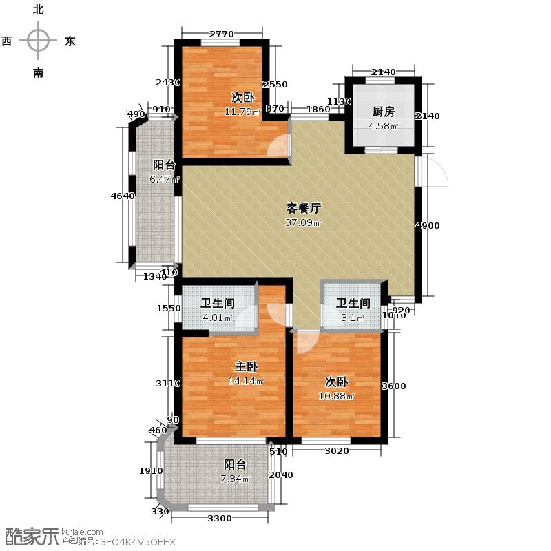 保利香槟国际128.00㎡D奇数层户型3室1厅2卫1厨