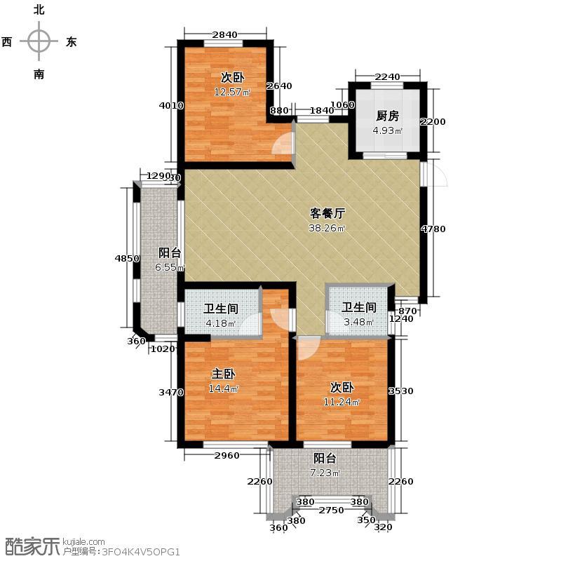 保利香槟国际128.00㎡D偶数层户型3室1厅2卫1厨