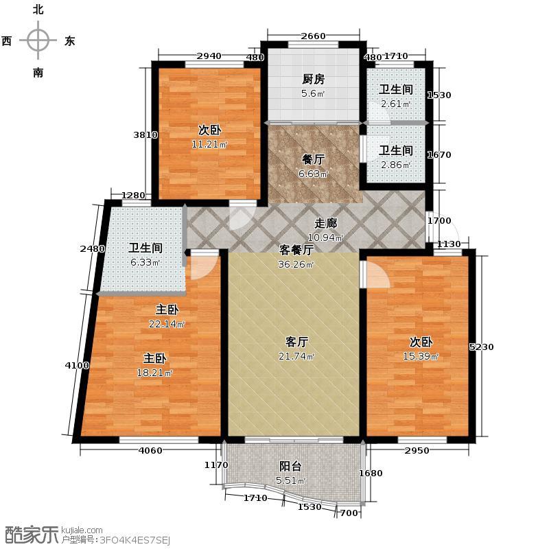 林水山居别墅136.03㎡林水山居户型3室1厅2卫1厨