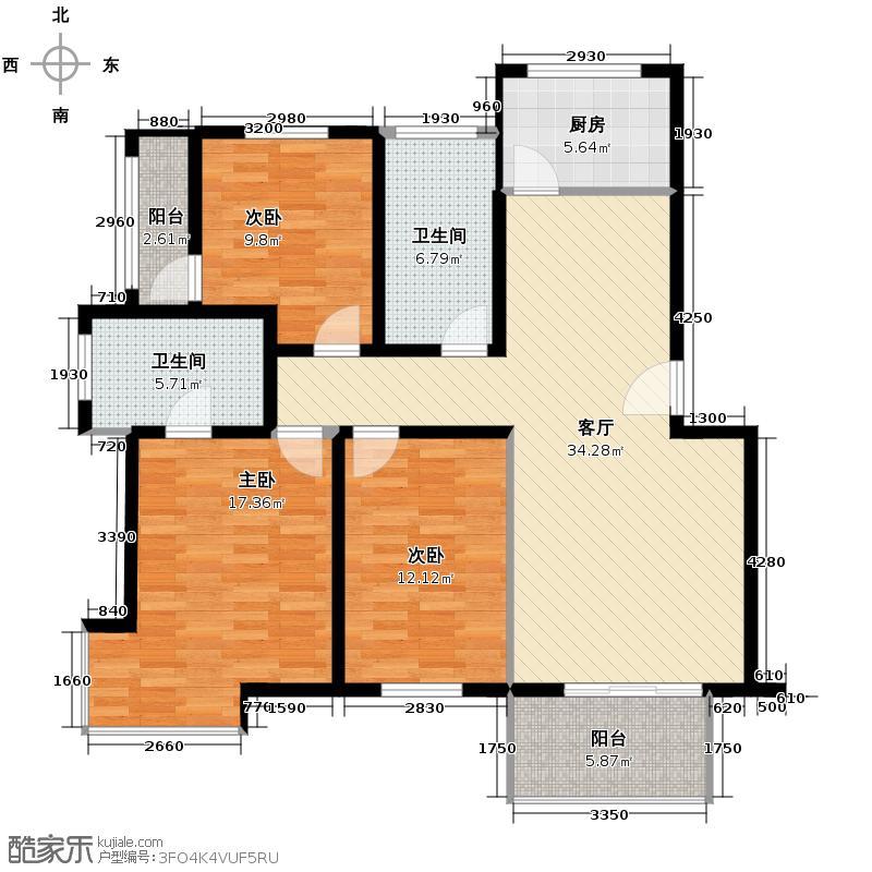 远东紫竹人家119.12㎡户型3室1厅2卫1厨