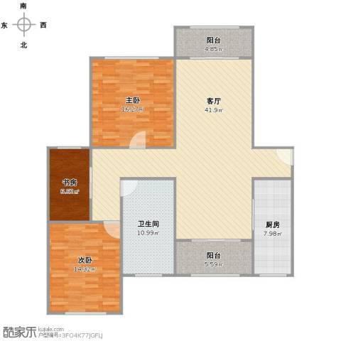 环球翡翠湾花园3室1厅1卫1厨145.00㎡户型图