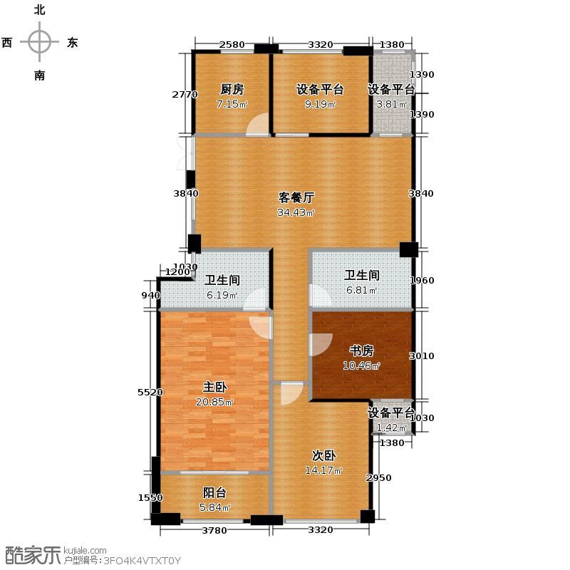 西溪山庄136.00㎡东方苑中间套户型3室1厅2卫1厨