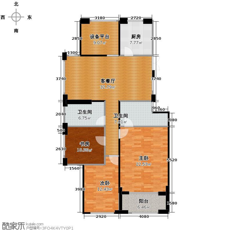 西溪山庄136.00㎡东方苑高层户型3室1厅2卫1厨
