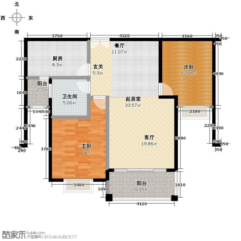 浅水湾城市花园108.00㎡户型2室1卫1厨