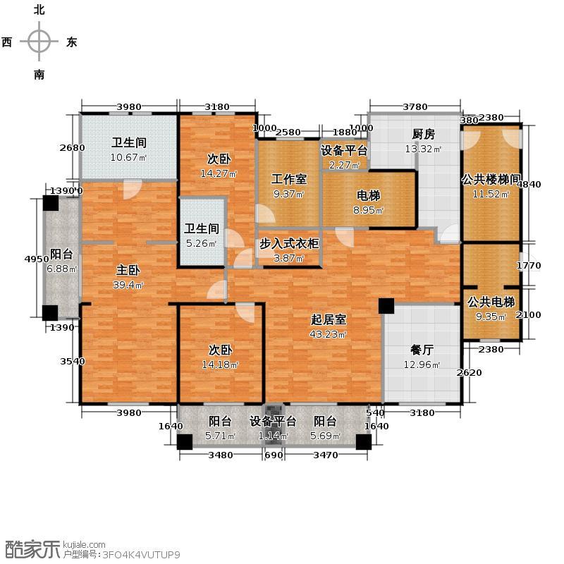 万科良渚文化村柳映坊二期215.00㎡平层户型3室1厅2卫1厨
