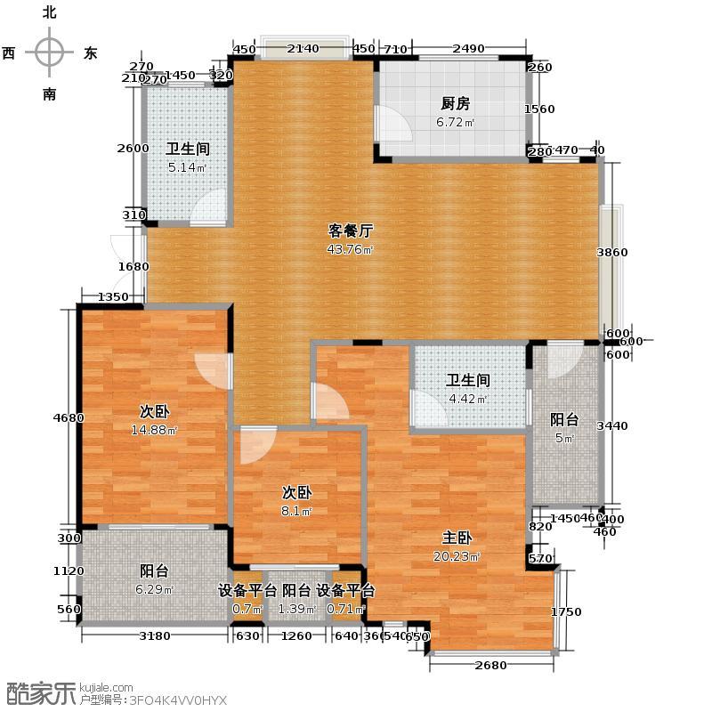 竹海水韵别墅126.32㎡户型3室1厅2卫1厨