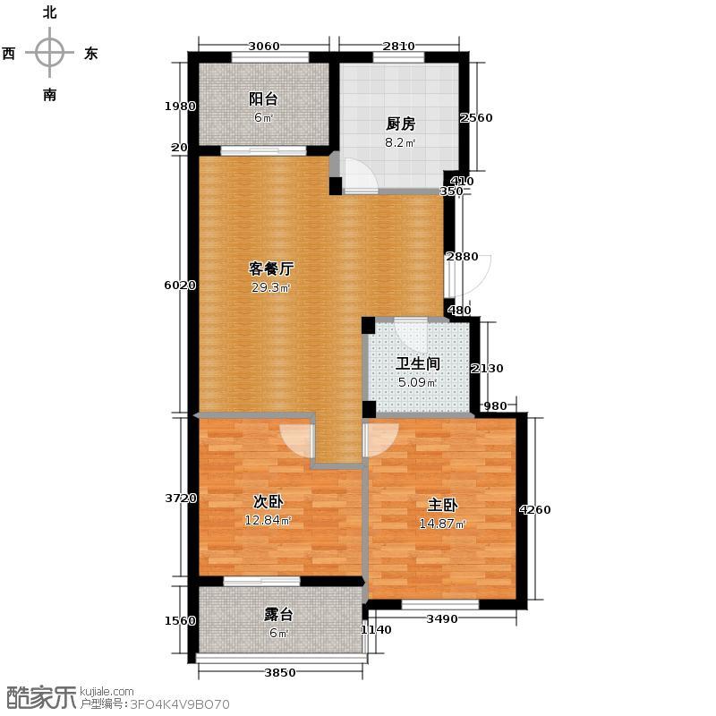 城建锦昌年华103.00㎡E18-19#中间套偶数层户型2室1厅1卫1厨