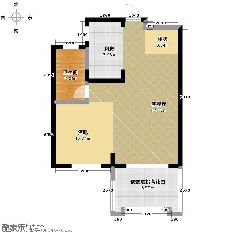 保利东湾排屋68.72㎡四期9号楼C一层户型1厅1卫