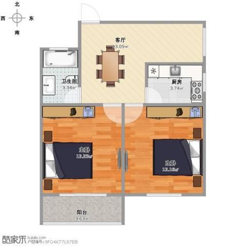 金杨新村2室1厅1卫1厨66.00㎡户型图