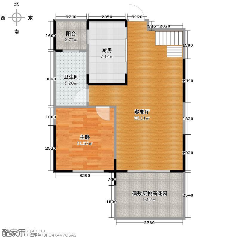 保利东湾115.00㎡四期9号楼C完成户型1室1厅1卫1厨