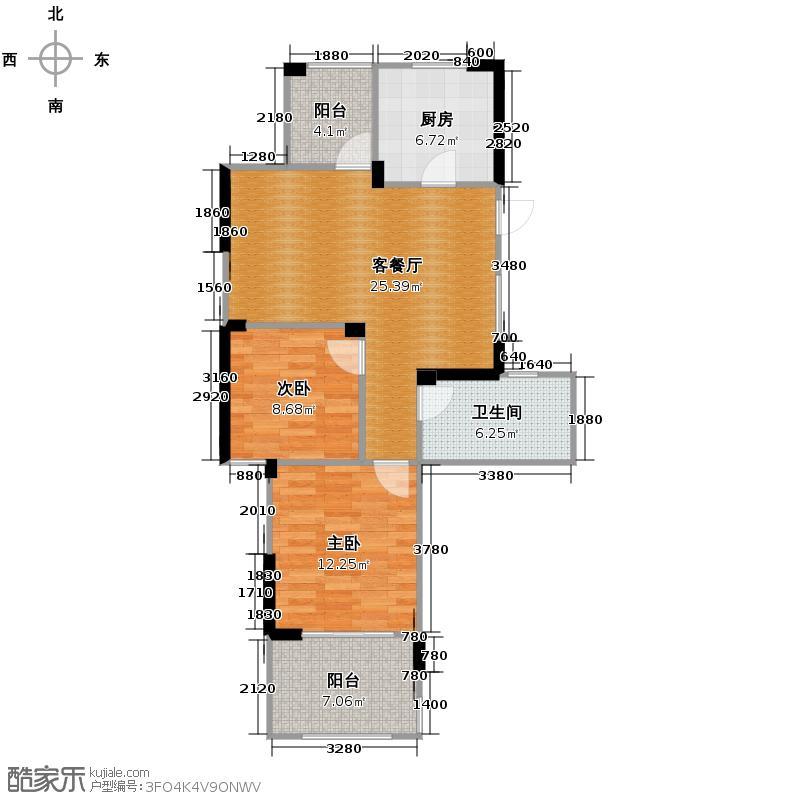 望城90.00㎡13号楼E4户型2室1厅1卫1厨