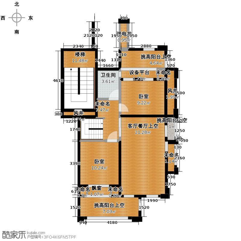 德信泊林印象137.00㎡梦墅137标准层原始平面图二层户型4室2厅2卫