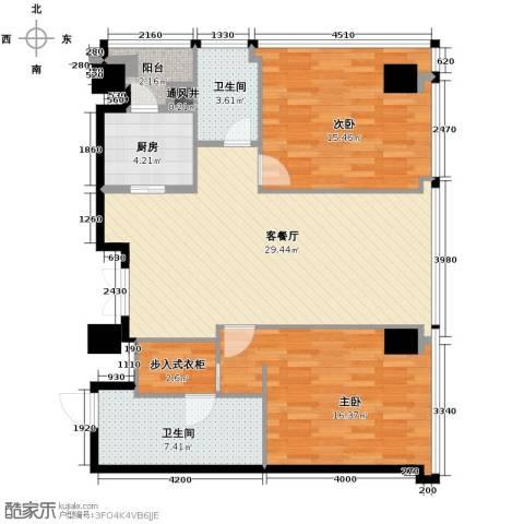百大绿城西子国际2室1厅2卫1厨160.00㎡户型图