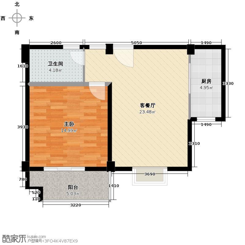 帝凯帝景园61.60㎡一期E2户型1室1厅1卫1厨