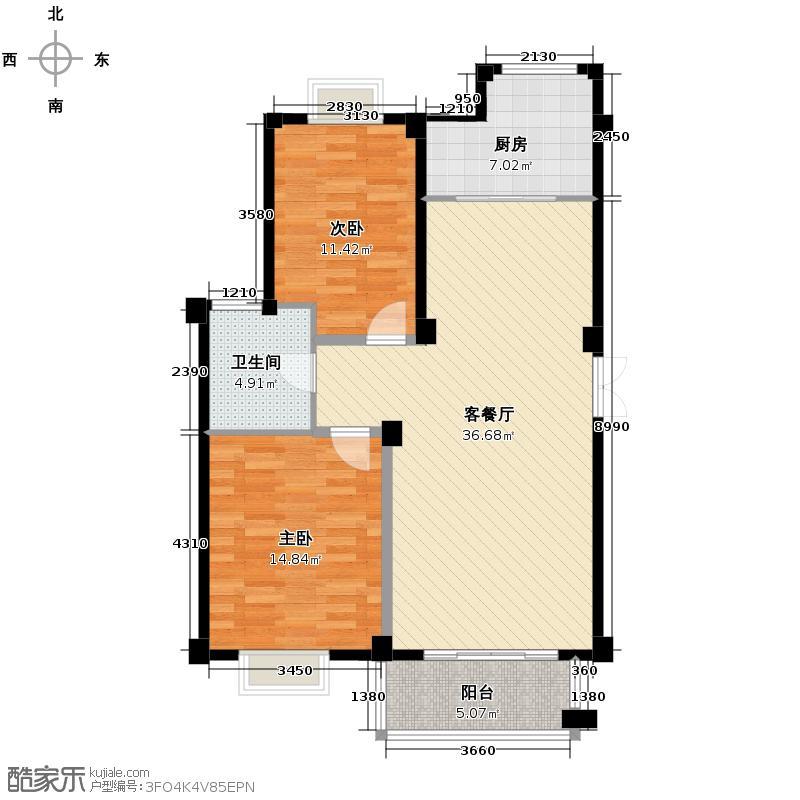 帝凯帝景园93.00㎡一期A6户型2室1厅1卫1厨