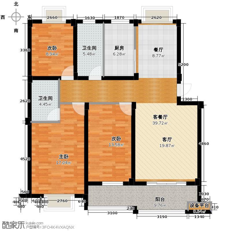 滨江花园120.00㎡B户型3室1厅2卫1厨