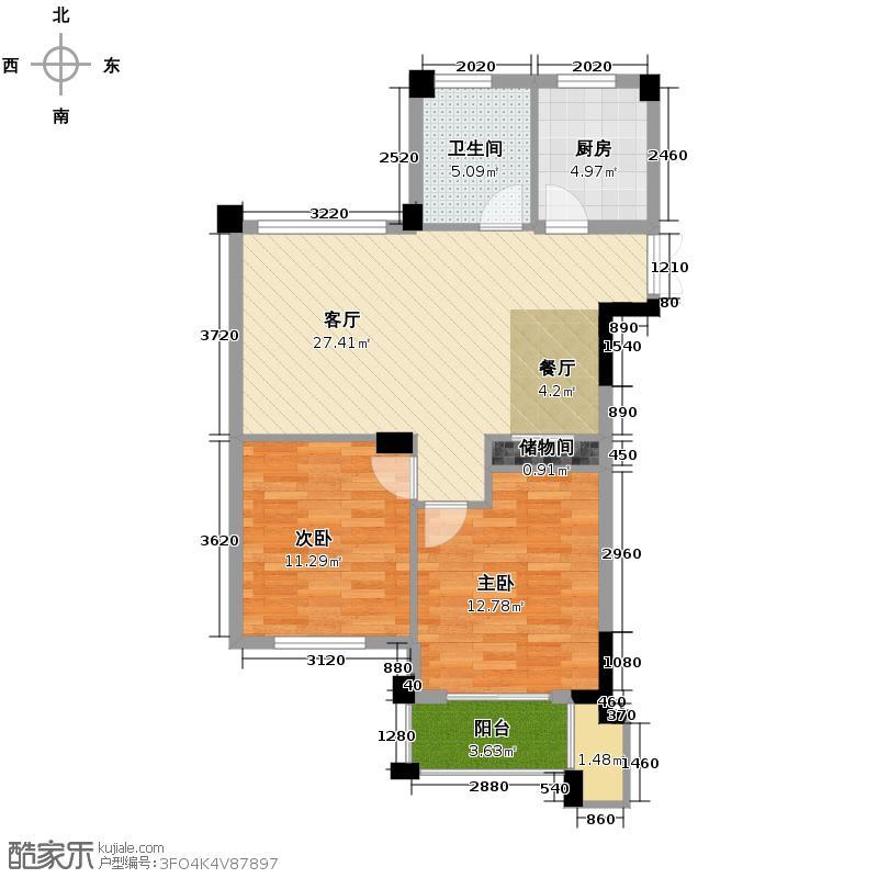 翡翠城90.00㎡竹苑6#D(已售完)户型2室1厅1卫1厨