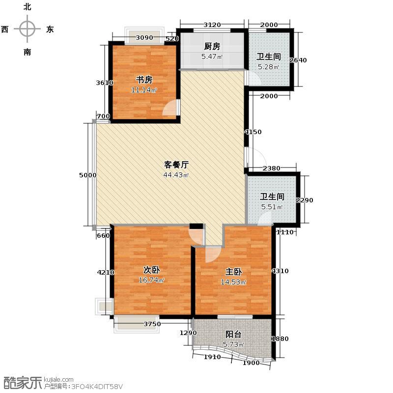 e世纪城市花园134.00㎡户型3室1厅2卫1厨