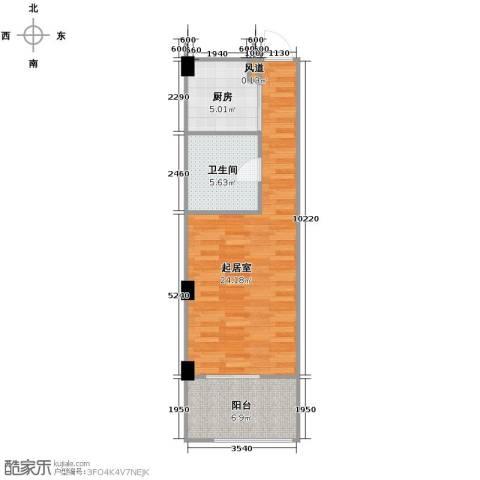 西溪蝶园二期1卫1厨70.00㎡户型图