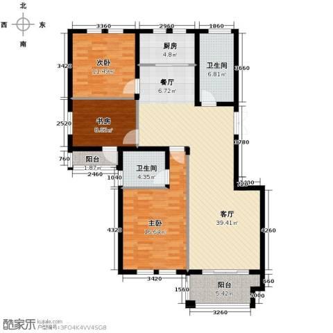 紫园3室1厅2卫1厨123.00㎡户型图