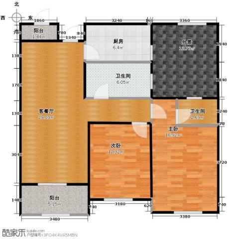 华鼎君临阁2室1厅2卫1厨102.00㎡户型图