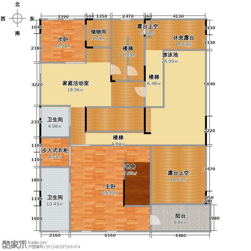 钱塘艺墅372.00㎡南面顶层公寓二层户型3室3厅5卫