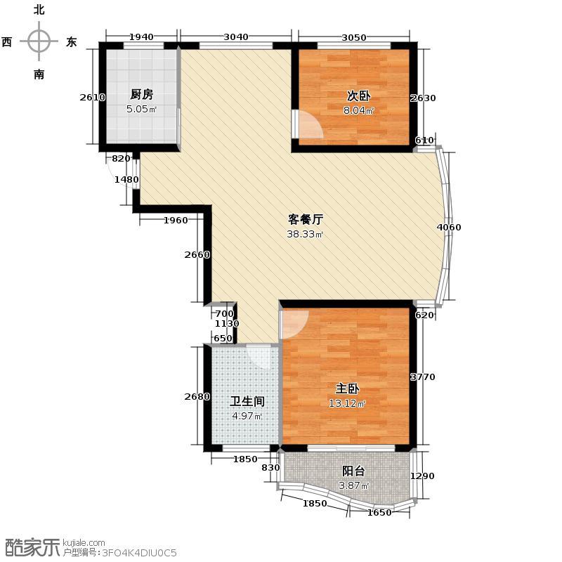 e世纪城市花园111.00㎡户型2室1厅1卫1厨