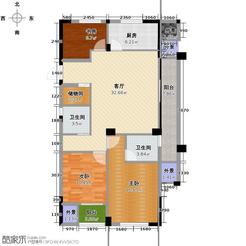 海棠公寓120.00㎡户型3室1厅2卫1厨
