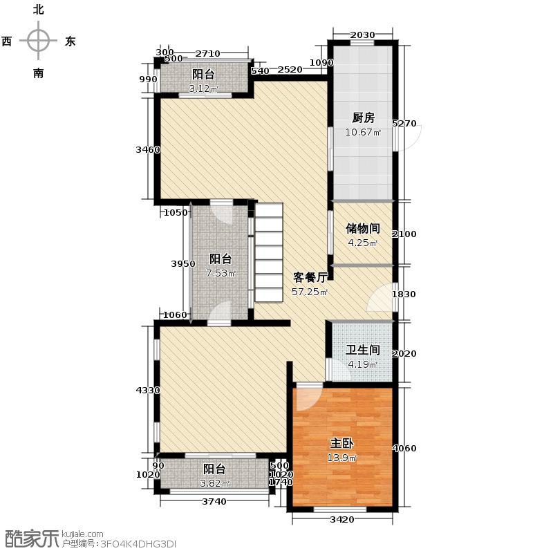 良渚文化村柳映坊240.00㎡变异跃层1层户型1室1厅1卫1厨